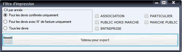 Outil d'export d'analyse sur tableur